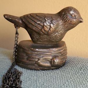 VINTAGE Bronze Bird On Nest W/Chain, Charming!🐥